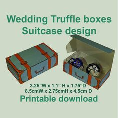 Wedding or party favor boxes. Suitcase design The sheets print out on x 11 card stock paper. The box measures wide, by by deep. For more colors of suitcase truffle boxes, please see the links below. Blue 'Just Married' - Chocolate Wedding Favors, Wedding Candy, Truffle Boxes, Blue Wedding, Party Games, Truffles, Suitcase, Printables, Birthday