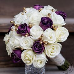Purple wedding bouquet gold bridal bouquet purple and gold