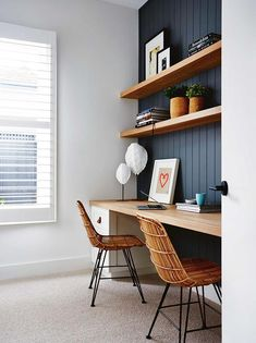 Home Office Furniture Wood . Home Office Furniture Wood . Home Office In Black and White Colors Wooden Desk Monstera Office Inspiration, Home Office Space, Simple House, House Interior, Home, Interior, Home Office Decor, Home Decor, Office Design