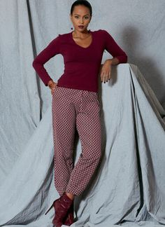 V9228   Misses' Pull-On Pants with Front Pockets   Vogue Patterns