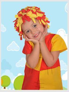 Medidas:    MEDIDAS  P: 30x40  M: 32x42  G: 34x45    Vestidinho feito com feltro e peruca com malha de algodão.    ATENÇÃO: As crianças têm o corpinho…