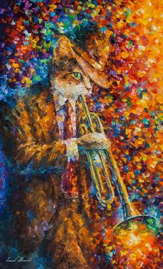 Trumpet cat — PALETTE KNIFE Oil Painting On Canvas By Leonid Afremov #OilPaintingCat