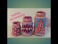 KIT DE VIDROS DECORADOS COM EVA - YouTube Projects To Try, Jar, Youtube, Quick Crafts, Extra Money, Roaches, Teaching, Gift, Mason Jars