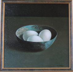 Schaaltje met eitjes. Olieverf. Nageschilderd van Henk Helmantel