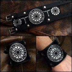 Black Sun- Sun Wheel-Soonenrad- Norse Viking bracelet, Viking wristband ,Viking cuff, Viking armband.Viking jewelry. Viking leather