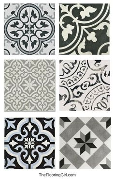 stenciled tiled floors - black, white and gray vintage tiles for a retro or farmhouse style look - bathroom flooring trends. stenciled tiled floors - black, white and gray vintage tiles for a retro or farmhouse style look - bathroom flooring trends. Bathroom Floor Tiles, Stenciled Tile Floor, Tile Bathrooms, Small Bathrooms, Flooring For Bathrooms, Bathroom Drawing, Painting Bathroom Tiles, Floor Stencil, Bathroom Tubs