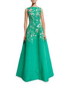 Oscar de la Renta Bateau-Neck Threadwork Embroidered Gown, Clover