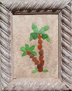"Real Sea Beach Glass Art - Nautical Decor ""Palm Trees"""