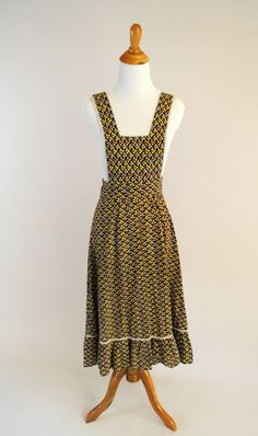 vintage floral prairie pinafore dress by AgeOldThreads on Etsy, $18.00