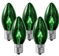 C9 Incandescent Green Bulb Transparent E17 Base Case Pack
