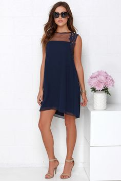 Midnight Bloom Navy Blue Lace and Mesh Dress at Lulus.com!