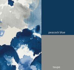 Peacock Blue Floral Upholstery Fabric Modern di PopDecorFabrics
