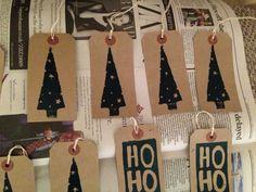 Lino cut Christmas gift labels