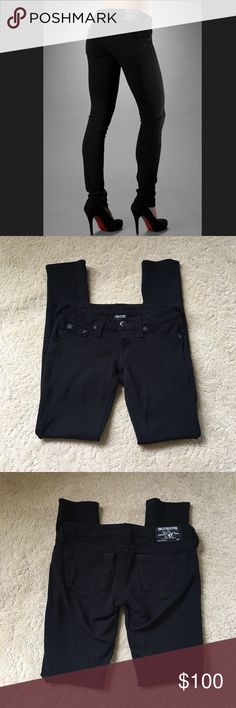 "True Religion Jeggings True Religion Stella black jeggings. Very comfortable and stretchy. 28"" inseam. Very small hole in inside of leg as pictured on fifth pic (can't be seen when worn). True Religion Jeans"