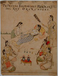 Mughal Princess Zebunissa listens to musicians while attended by maids. Mughal Paintings, Islamic Paintings, Indian Paintings, Oriental, Indian Eyes, Mughal Empire, India Art, Historical Art, Islamic Art