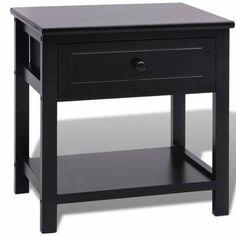 Black Wooden Bedside Table Nightstand Bedroom Sofa Side End Cabinet Drawer Unit Grey Table Lamps, Wooden Table Lamps, Table Storage, Storage Spaces, Cabinet Storage, Storage Chest, Bedside Cabinet, Nightstand, Bedside Tables