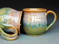 Floating Blue Glaze    Pottery Mug Ceramic Coffee Mug Round Waterfall