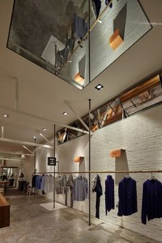 metal ceiling structure industrial style store interior