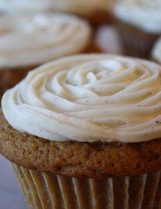 Pumpkin Cupcake Recipe with Vanilla Bean Buttercream Recipe Vanilla Bean Cupcakes, Pumpkin Cupcakes, Icing Frosting, Buttercream Recipe, Cupcake Recipes, Cookie Recipes, Vanilla Flavoring, Pumpkin Recipes, Let Them Eat Cake