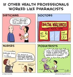 Ed's Rant.: If Other Health Professionals Worked Like Pharmaci. Pharmacists, Pharmacy, Cartoons, Funny Memes, Medical, Advice, Board, Health, Things To Sell