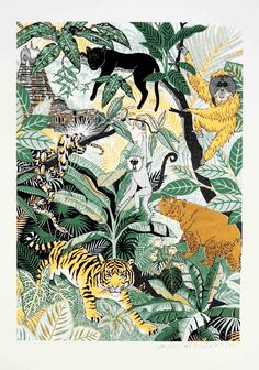 Seoni Jungle by Jacqueline Colley Seoni Jungle Jacqueline Colley Print Club London Screen Print Illustration Inspiration, Jungle Illustration, Graphic Illustration, Painting Inspiration, Art Inspo, Jungle Art, Jungle Drawing, The Jungle Book, Jungle Animals