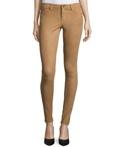 The Suede Full-Length Legging, Camel by AG Adriano Goldschmied at Neiman Marcus.