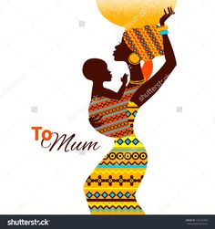 Beautiful Silhouette Of Black African Mother And Baby In Retro Style. Cards Of Happy Mother'S Day Banco de ilustração vetorial 134145368 : Shutterstock