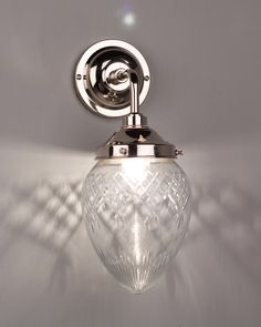 Simple but striking contemporary bathroom light. Handmade from brass in the UK and fitted with our Hereford Ribbed Glass Contemporary Shade Contemporary Bathroom Lighting, Modern Bathroom Design, Bathroom Wall Lights, Glass Bathroom, Traditional Bathroom, Downlights, Polished Brass, Cut Glass, Bathroom Inspiration