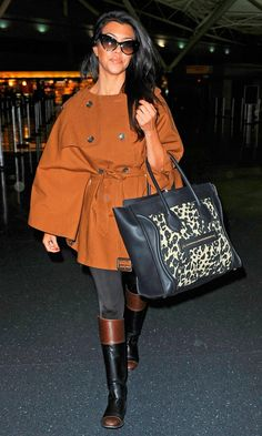 Kourtney Kardashian's style..love the Celine bag and coat! and boots! and her!