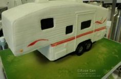 Recently I had the opportunity to work on a vehicle cake. This time, it was a RV/motorhome cake – specifically, a fifth-wheel trailer! This cake was for Bill & Livia's 70th and 65th…