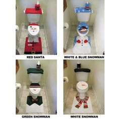Santa Or Snowman Bathroom Toilet Seat Cover Rug Set
