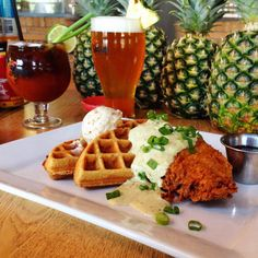 Chicken + waffles. SanTan's bacon infused Bloody Mary and fresh, local craft beer... How about all three?!
