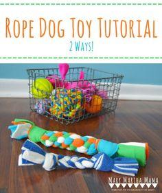 DIY Fleece Dog Toy Tutorial- How to make your own dog toys using fleece fabric. #FeedDogsPurina #ad
