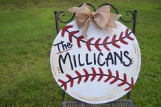 Personalized Baseball Wooden Door Hanger, Baseball Door Decor
