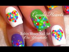 Easy Valentine Nails   Cute DOT Candy Heart Nail Art Design Tutorial - YouTube