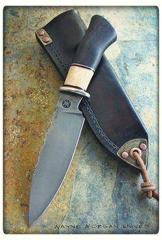 Wayne Morgan Knives. Types Of Knives, Knives And Tools, Knives And Swords, Forged Knife, Knife Handles, Knife Sheath, Fixed Blade Knife, Custom Knives, Survival Knife