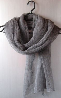 Linen Scarf Shawl Wrap Stole Dark Gray Light by Initasworks
