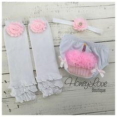 SET Cupcake Bloomers, pink flower rhinestone headband, white leg warmers, baby girl infant toddler, First Birthday, 1st Birthday, cake smashby HoneyLoveBoutique