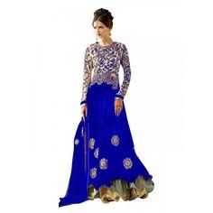 Party Wear Embroidered Georgette Blue Anarkali Salwar Suit -  EBSFSK302009B ( EBSFSK30 )