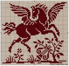 Filet crochet by rolanddesigns Cross Stitch Horse, Fantasy Cross Stitch, Cross Stitch Animals, Cross Stitch Charts, Cross Stitch Designs, Cross Stitch Patterns, Cross Stitching, Cross Stitch Embroidery, Hand Embroidery