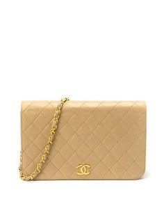 Beige quilted lambskin shoulder bag Sale - Chanel Sale