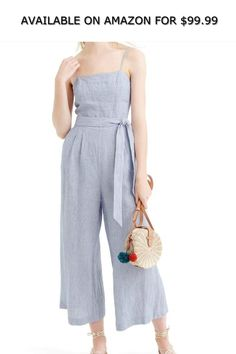 f9a3b4982a29 J Crew Petite Linen Tie Waist Striped Jumpsuit Size 10 Style G6579 ◇  AVAILABLE ON AMAZON