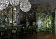 Dining room of French large scale flower artist Claire Basler