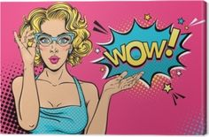 Sexy surprised young woman in glasses with open mouth and blonde curly hair and speech bubble. Vector bright background in pop art retro comic style. - Comprar este vetor do stock e explorar vetores semelhantes no