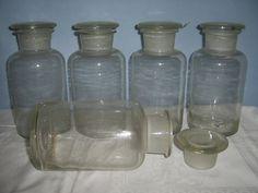 5 Stück Apotherglas, 1000 ml/1 Liter Glas mit Stopfen, Apotheke Flasche Klarglas