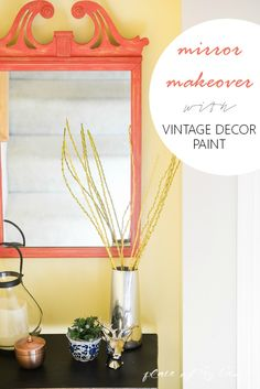 Mirror Makeover with Martha Stewart Crafts Vintage Decor Paint - www.placeofmytaste.com in @michaelsstores and great for #diy furniture, #crafts and home decor projects #plaidcrafts #marthastewart #marthastewartcrafts