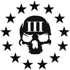 3 Percenter Skull Stars Sticker Star Tattoos, New Tattoos, Sleeve Tattoos, Tattoos For Guys, Army Tattoos, Military Tattoos, Tatoos, 3 Percenter Tattoo, Splinter Cell