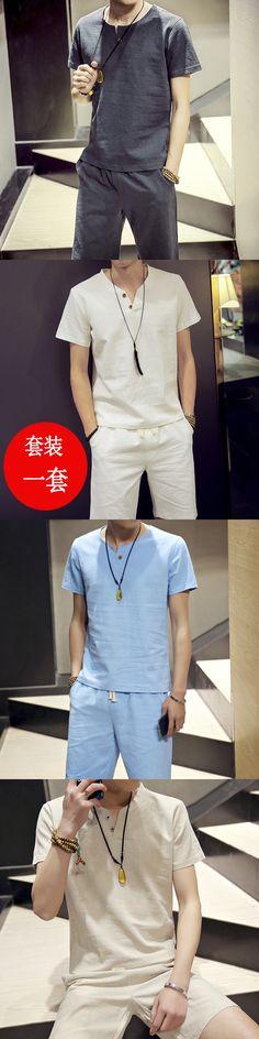 2017 new summer men's cotton linen plus size 5XL sets suit collar cotton T-shirt student soft T-shirt+casual shorts male stes
