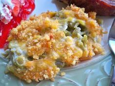 Green Bean Casserole with Ritz Cracker topping from: http://www.recipetips.com/recipe-cards/t--148030/green-bean-casserole-with-ritz-cracker-topping.asp
