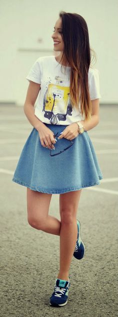 Blue Denim Skirt Top White Tee but instead of those shoes converse !(: